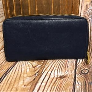 J. CREW NAVY LEATHER WALLET